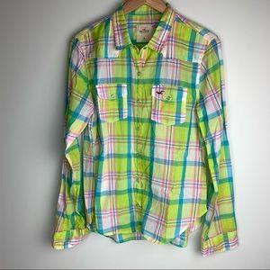 Hollister Green Plaid 100% Cotton Button Up